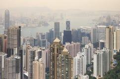 Hongkong bij Zonsondergang Stock Afbeelding
