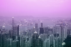 Hongkong bij Zonsondergang Royalty-vrije Stock Foto's