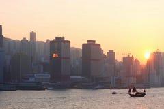 Hongkong bij Zonsondergang Stock Fotografie