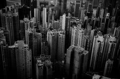 Hongkong on black and white. Honhkong view from the peak Stock Photos