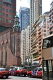 Hongkong building and street traffic Royalty Free Stock Images