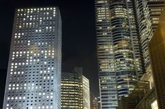 Hongkong - buildings complex by night Royalty Free Stock Photos