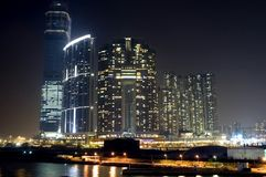 Hongkong - buildings complex by night Stock Photos