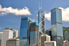 Hongkong business and bank buildings Stock Image