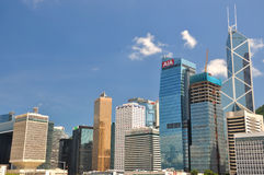 Hongkong center area, business and bank buildings Royalty Free Stock Photo