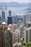 Hongkong center business area and Victoria harbor Stock Photos