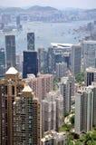 Hongkong center business area and Victoria harbor Stock Photos