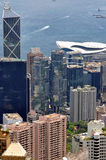 Hongkong center business buildings and harbor Stock Photos