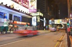 Hongkong shopping street at night Royalty Free Stock Photos