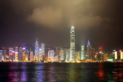 Hongkong china. Nigth view of the hongkong skyline royalty free stock photos