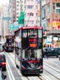 HONGKONG, CHINA/ASIA - 28 FEBRUARI: Trams in Hongkong op Februa stock foto