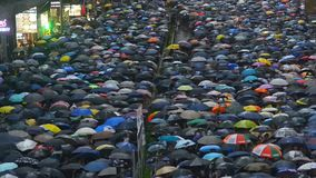 Hongkong, China - August 2019: background top view 2019 asia business people crowd. concept american propaganda woman