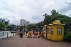 Hongkong, China: bus station and road traffic Royalty Free Stock Photography