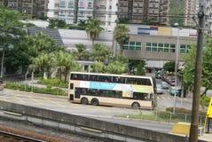 Hongkong, China: bus station and road traffic Royalty Free Stock Images