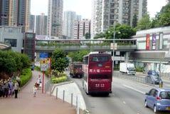 Hongkong, China: bus station and road traffic Stock Photo