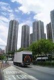 Hongkong, China: bus station and road traffic Royalty Free Stock Image