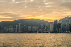 Hongkong China from Kowloon side across from Victor Harbor. Royalty Free Stock Image
