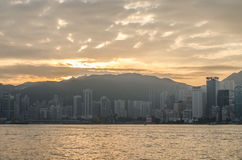 Hongkong China from Kowloon side across from Victor Harbor, Royalty Free Stock Photos