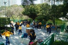 Hongkong, China: spring tourism activities of the students. Hongkong Tuen Mun Park, in the spring tourism activities of pupils Royalty Free Stock Photo