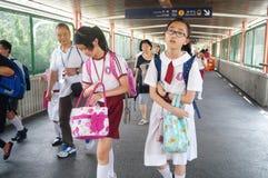 Hongkong, China: students go home from school Stock Image