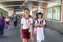 Hongkong, China: students go home from school Royalty Free Stock Photography