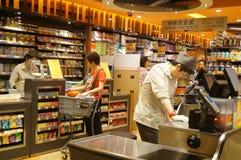 Hongkong, China: supermarket cashier checkout Stock Images