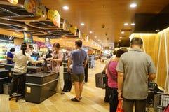 Hongkong, China: supermarket cashier checkout Royalty Free Stock Image
