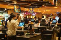Hongkong, China: supermarket cashier checkout Royalty Free Stock Images