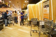 Hongkong, China: supermarket cashier checkout Royalty Free Stock Photos