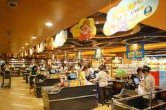 Hongkong, China: supermarket cashier checkout Stock Photo