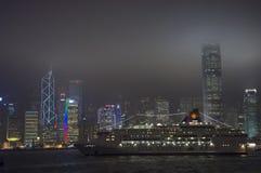 HONGKONG /CHINA 9TH MARS 2007 - stadshorisonten vid natt Royaltyfri Fotografi