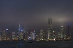 HONGKONG /CHINA 9TH MARS 2007 - stadshorisonten vid natt Arkivfoton