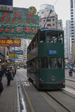 HONGKONG /CHINA 9TH MARS 2007 - traditionella Hong Kong Trolly Bu Arkivbild