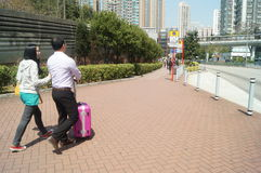 Hongkong, China: Tuen Mun Street tourists Stock Photography