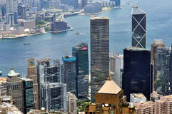 Hongkong city landscape in urban and harbor Royalty Free Stock Images
