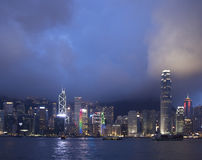 Hongkong city. Night cityscape of hongkong city skyline royalty free stock images