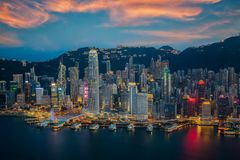 Hongkong city skyline. The center of bissiness in Asia, Hongkong Night, Hongkong Sunset, island in China stock images