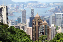 Hongkong city and Victoria harbor from Peak Stock Photography