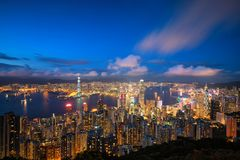 Hongkong cityscape. From top view stock photos