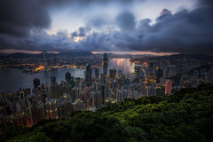 Hongkong cityscape from top view Stock Images