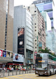 Hongkong commercial center and bus Stock Image
