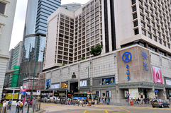 Hongkong commerical center street. View of commerical center street and traffic in Hongkong, vehicle and ad board, shown as city environment in Hongkong. Photo Royalty Free Stock Photo