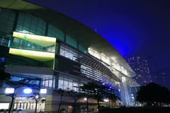 HongKong Convention and Exhibition Centre in night Stock Photography