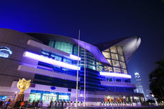 HongKong Convention and Exhibition Centre in night Stock Images
