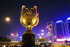 HongKong Convention and Exhibition Centre in night Royalty Free Stock Images