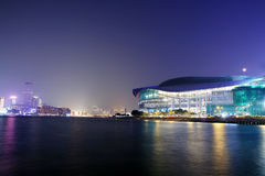 HongKong Convention and Exhibition Centre in night Royalty Free Stock Image