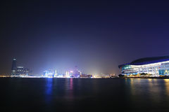 HongKong Convention and Exhibition Centre in night Stock Image