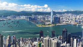 Hongkong daytime. Hongkong day , blue sky, white cloud royalty free stock image