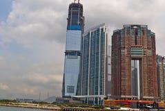 Hongkong, de nieuwe wolkenkrabbers van Kawloon van het Westen royalty-vrije stock foto's