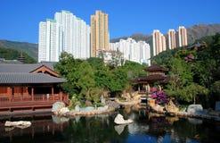 Hongkong: De Tuin van Lian van Nan & Geschikt. Torens Royalty-vrije Stock Fotografie